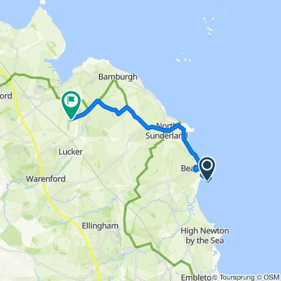 Route from 53 Harbour Road, Chathill