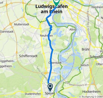 Mehlgasse 6, Speyer nach Roonstraße 1, Ludwigshafen