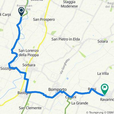 Via Sott'Argine San Martino 6/A, Carpi naar Via Roma, Ravarino