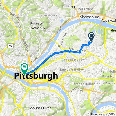 830 Mellon St, Pittsburgh to 513–519 Penn Ave, Pittsburgh