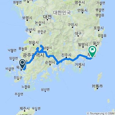 Korea Mokpo to Busan by Jeonnam trails