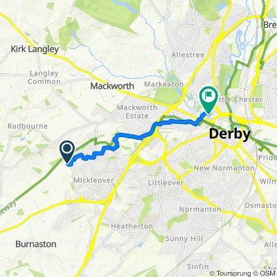 64 Archer Dr, Derby to The Maypole Inn, 42 Brook St, Derby