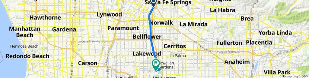 San Gabriel River Bike Path, Downey to 3343 Roxanne Ave, Long Beach