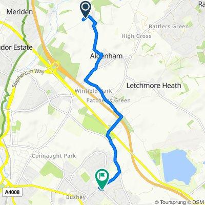 Otterspool Lane, Aldenham, Watford to 8 Chiltern Ave, Bushey
