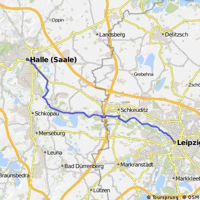 Zentrum Leipzig nach Zentrum Halle