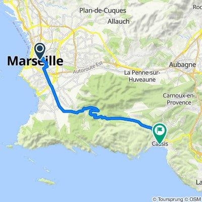 De 16 Cours Belsunce, Marseille à 4 Place Baragnon, Cassis
