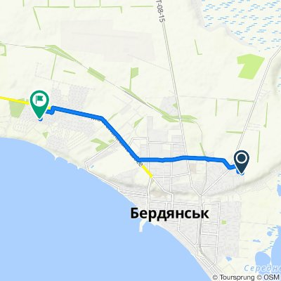 От Лобачевского улица, 30, Бердянск до Шишкина улица, 5, Бердянск