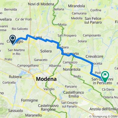 Da Via Fazzano 13, Correggio a Via Prugnolo 4, San Giovanni in Persiceto
