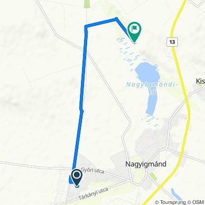 Route from Napsugár utca 10., Nagyigmánd