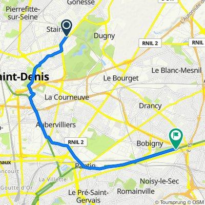 De 2 Allée du Val du Moulin, Stains à Chemin de Halage, Noisy-le-Sec