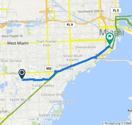 5930 SW 46th Terr, Miami to 120 SW 13th St, Miami