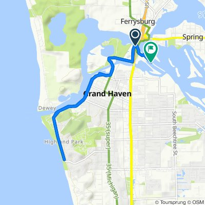 Route from Harbor Island Dr, Grand Haven