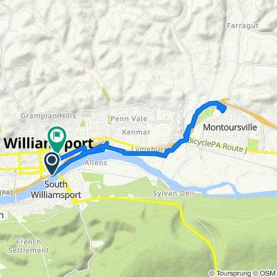 I-180 E, Williamsport to 615 Franklin St, Williamsport
