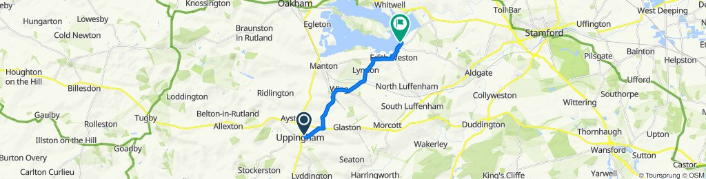 Route from 30 The Quadrant, Oakham