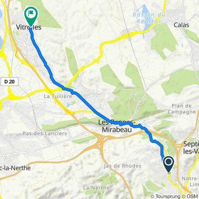 De 58 Vieille Route de la Gavotte, Les Pennes-Mirabeau à 5 Place de l'Aire, Vitrolles