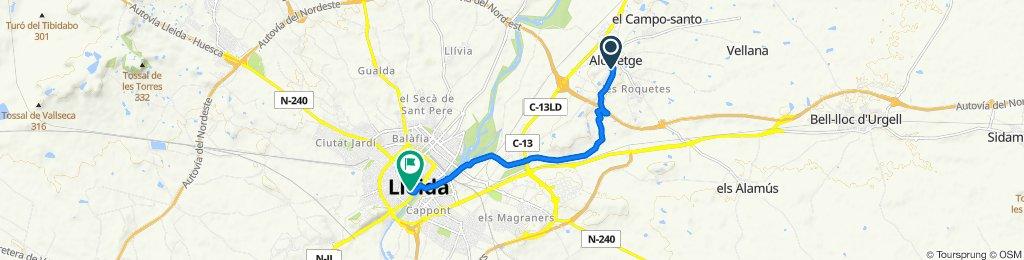 Carrer del Mirador del Segrià, Alcoletge to Carrer Cavallers, 7, Lleida