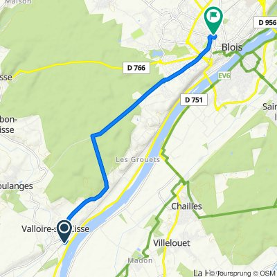 De Chemin des Noués 4, Valloire-sur-Cisse a Rue des Hautes Granges 64, Blois