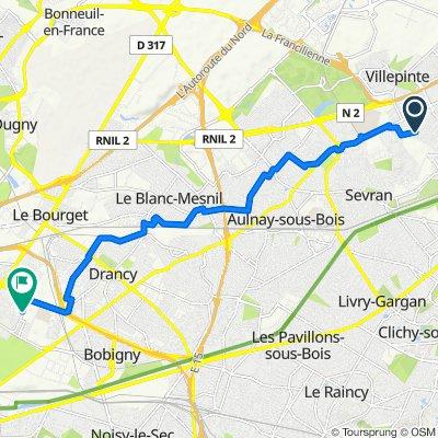 De Avenue de Montceleux 63, Villepinte à Avenue de la Convention 24, Bobigny