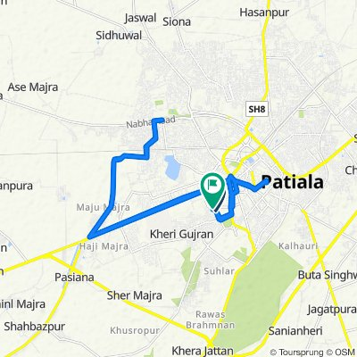 Route from 22, Rikhi Dev Marg, Patiala