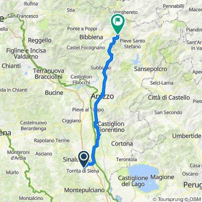 Da Località San Giuliano 162, Torrita di Siena a Strada provinciale 208 della Verna 45, Pieve Santo Stefano