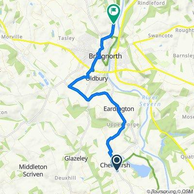 B4555, Chelmarsh, Bridgnorth to 1 Golf Course View Cottages, Stanley Lane, Bridgnorth