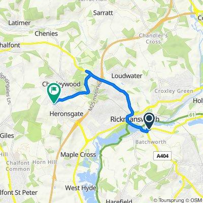 Moor Lane, Rickmansworth to 3, Beechwood Cottages, Heronsgate Road, Rickmansworth