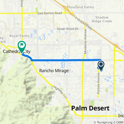 62 Willow Ridge, Palm Desert to 69020 E Palm Canyon Dr, Cathedral City