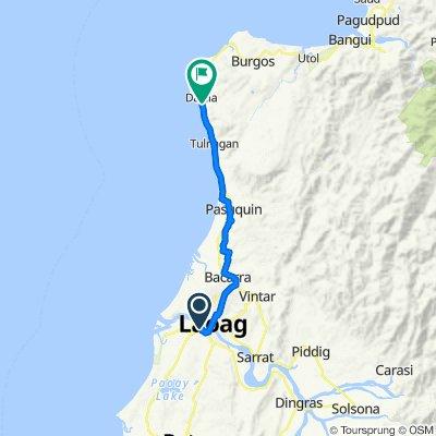 B. Roque Street 332, Laoag City to Pan-Philippine Highway, Pasuquin