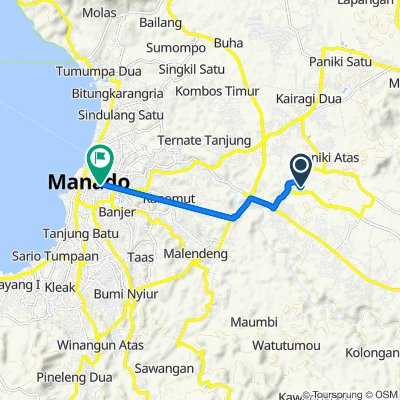 Unnamed Road, Talawaan to Jalan Jendral Sudirman 105, Kecamatan Wenang
