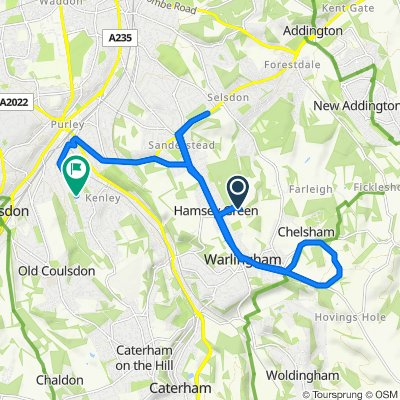 Kingsmead Equestrian Centre, Kingswood Lane, Warlingham to 8 Cullesden Road, Kenley