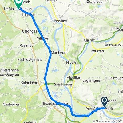 De Route de Saint-Julien, Bazens à 3 Rue Andiran, Le Mas-d'Agenais