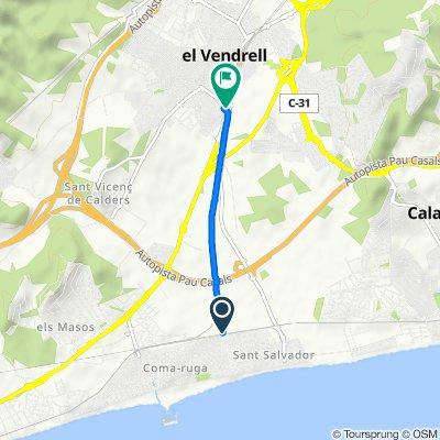 De Avenida del Parlamento de Cataluña, El Vendrell a Carretera de Sant Salvador, El Vendrell
