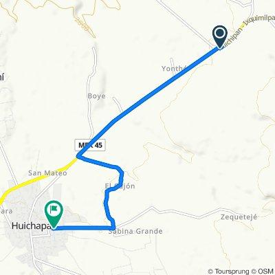 De Carretera Portezuelo-Palmillas, Huichapan a Calle Isaac Rivera Corchado 17, Huichapan