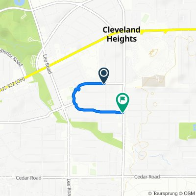 3364 Euclid Heights Blvd, Cleveland Heights to 3446–3448 Berkeley Rd, Cleveland Heights