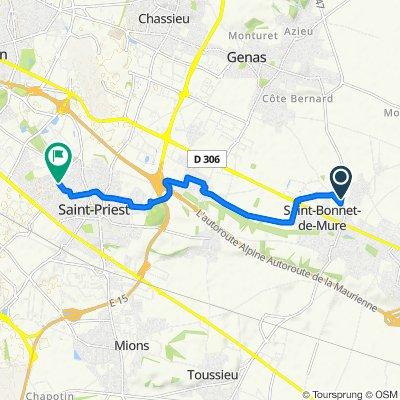 De Route de Meyzieu, Saint-Bonnet-de-Mure à 2 Rue Jean Moulin, Saint-Priest