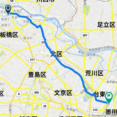 5-8, Funado 3-Chōme, Itabashi-Ku to 11-10, Azumabashi 1-Chōme, Sumida-Ku