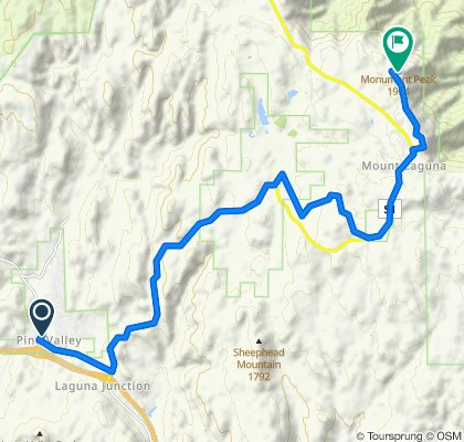 Route from 28823 Old Hwy 80, Pine Valley