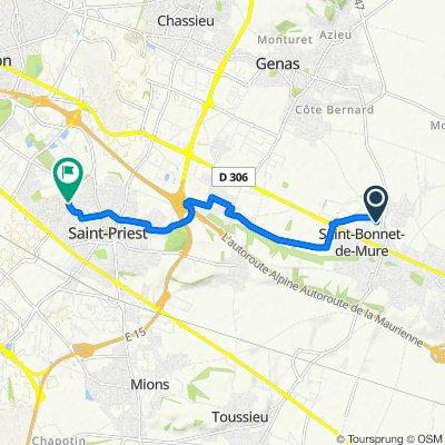 De Chemin du Bois Rond, Saint-Bonnet-de-Mure à 22 Avenue Charles de Gaulle, Saint-Priest