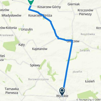 Koncpecja szlaku rowerowego gmina Wysokie do szlaku żródeł Kosarzewki