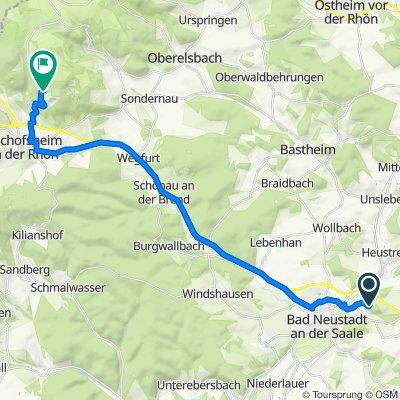 Kreuzbergring 63, Bad Neustadt an der Saale nach Bauersbergstraße 134, Bischofsheim in der Rhön