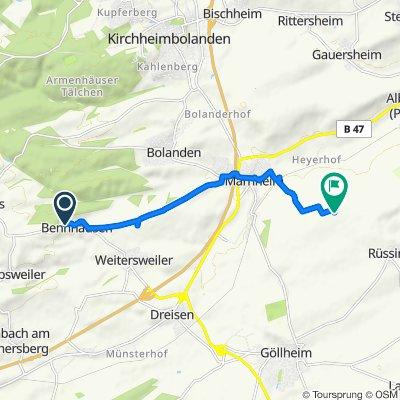Route von Hauptstraße, Bennhausen