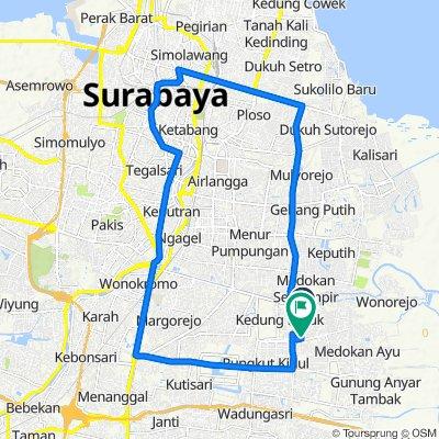 Jalan Penjaringan Timur XV 31, Kecamatan Rungkut to Jalan Penjaringan Timur 7, Kecamatan Rungkut