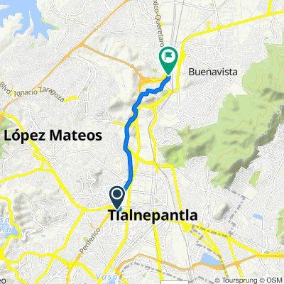 Avenida Mario Colín 110, Tlalnepantla to Calle Playa Larga 30, Cuautitlán Izcalli