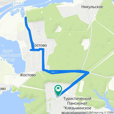 От улица Цветочная, 571, Пироговский до Берёзовая улица, 7V, Пироговский