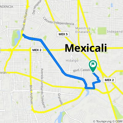 De Avenida Lope de Vega 1, Mexicali a Avenida Lope de Vega 1, Mexicali