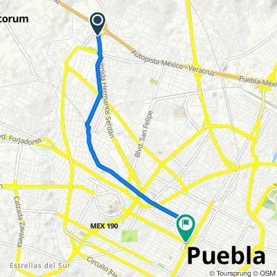 Ruta desde Avenida Puebla - Tlaxcala 835–875, Puebla
