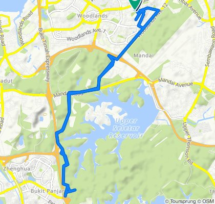 Woodlands Ring Road to Mandai Trail to Woodlands Ring Road, Singapore