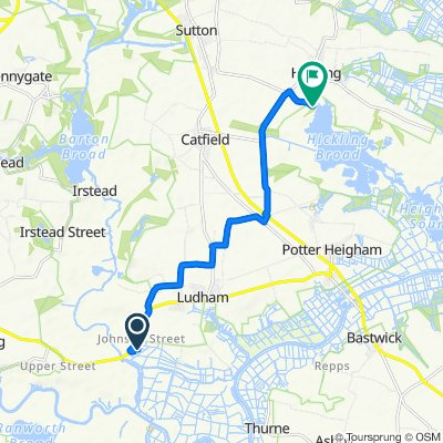 Route from 3 Johnson St, Ludham, Great Yarmouth