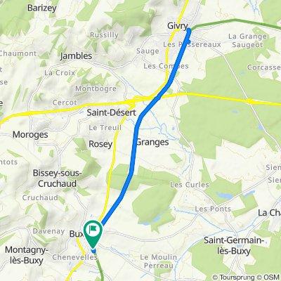 De Rue de la Charité, Buxy à 2 Côteau de la Voie Verte, Buxy