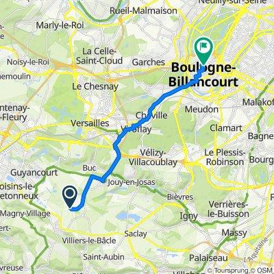 De Rue de la Porte de Toussus, Toussus-le-Noble à 24 Rue Louis Pasteur, Boulogne-Billancourt